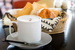 Hot Coffee with Bread Royalty Free Stock Image