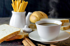Hot coffee and bread Royalty Free Stock Image