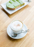 Hot coffee and bread Royalty Free Stock Photography