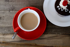 Hot coffee and cake. Royalty Free Stock Photos