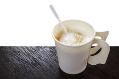 Hot coffee cappuccino in disposable paper coffee cup with plasti Stock Photography