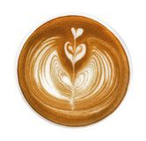 Hot coffee cappuccino latte art heart flower shape top view isol stock photo