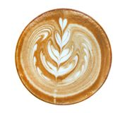 Hot coffee cappuccino latte art heart flower shape top view isolated on white background, clipping path royalty free stock photography