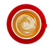 Hot coffee cappuccino latte art spiral foam in red ceramic cup top view isolated on white background, clipping path stock photos