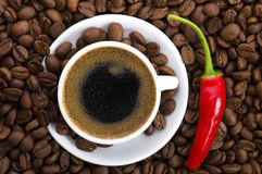 Hot coffee with chili Royalty Free Stock Photos
