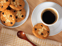 Hot coffee with Chocolate chip cookies Royalty Free Stock Photo
