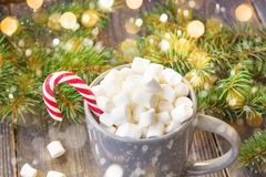 Hot coffee chocolate with marshmallow on rustic wooden table background, candy canes gift boxes fir tree with snow. Hot coffee chocolate with marshmallow in stock photo