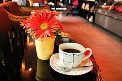 Hot coffee in coffee shop Stock Photos