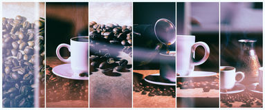 Hot coffee. Coffee turk and cup of hot coffee with coffee beans Royalty Free Stock Photo
