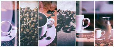Hot coffee. Coffee turk and cup of hot coffee with coffee beans Royalty Free Stock Images