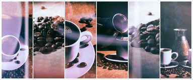 Hot coffee. Coffee turk and cup of hot coffee with coffee beans Stock Photo
