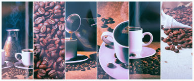 Hot coffee. Coffee turk and cup of hot coffee with coffee beans Stock Images