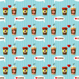 Hot coffee and cold coffee seamless pattern Stock Image
