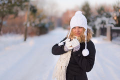 Hot coffee in cold winter day Stock Images