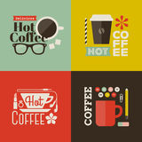 Hot coffee. Collection of vector design elements Stock Photos