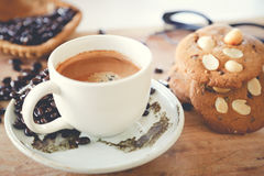 Hot coffee and cookie. On the table Stock Photo