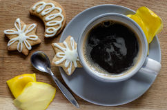 Hot coffee and cookies Stock Images