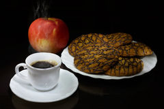 Hot coffee, cookies and red apple Royalty Free Stock Image