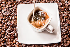 Hot Coffee with Cream Stock Image