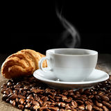 Hot coffee with croissant Stock Photo