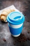Hot coffee and a croissant Royalty Free Stock Photography