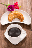Hot coffee and croissant Royalty Free Stock Photo
