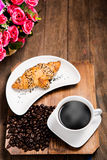 Hot coffee and croissant Royalty Free Stock Image