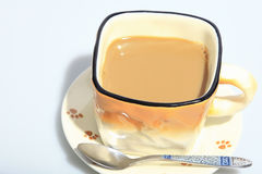 Hot coffee in the cup, as foods background. Hot coffee in the cup, as foods background or print card Royalty Free Stock Photos