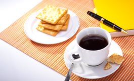 Hot coffee cup with bread Stock Image