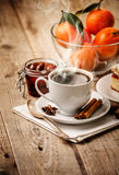 Hot coffee in cup breakfast and cake Royalty Free Stock Photo