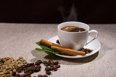Hot coffee in cup with cinnamon sticks and beans Stock Photography
