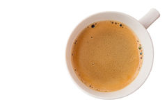 Hot coffee cup with clipping path top view isolated on white bac Royalty Free Stock Image