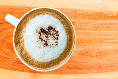 Hot coffee cup with clipping path top view Royalty Free Stock Photography
