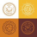 Hot coffee in cup and coffee beans, natural drink. Set of vector royalty free illustration