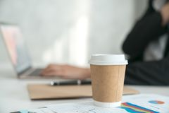 Hot coffee cup On the desk. 1 stock photo