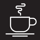 Hot coffee cup line icon, white outline sign, Cafe vector illustration. Royalty Free Stock Photos
