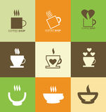 Hot coffee cup logo icon set Royalty Free Stock Images