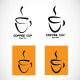 Hot coffee cup logo Stock Photo