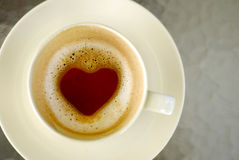 Hot coffee cup, Love concept Stock Photos