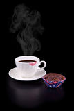 Hot coffee cup and muffin Royalty Free Stock Image