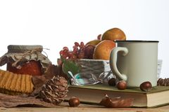 Hot coffee cup old book glasses and autumn leaves with fruit basket royalty free stock image