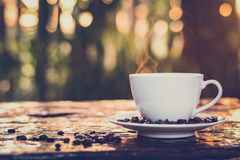 Hot coffee in the cup on old wood table with blur dark green nature background
