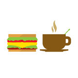 Hot Coffee Cup And Sandwich Royalty Free Stock Photography