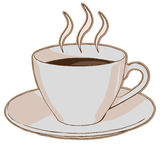Hot coffee in a cup. On a saucer Royalty Free Illustration