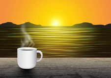 Hot coffee cup on vintage wooden table on sunrise above the horizon background. Vector illustration royalty free illustration