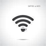 Hot coffee cup and wifi sign. Technology and business background Stock Photos