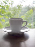Hot coffee cup on wood table. Outdoor shoot with gardening background Royalty Free Stock Photos