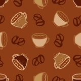Hot  coffee cups seamless pattern background for cafe or restaurant menu design Royalty Free Stock Images