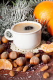 Hot coffee with delicacies Royalty Free Stock Photo