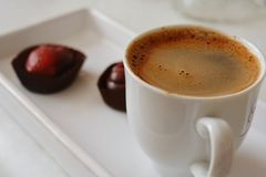 Hot coffee and delicius chocolatte. After lunch z Stock Image